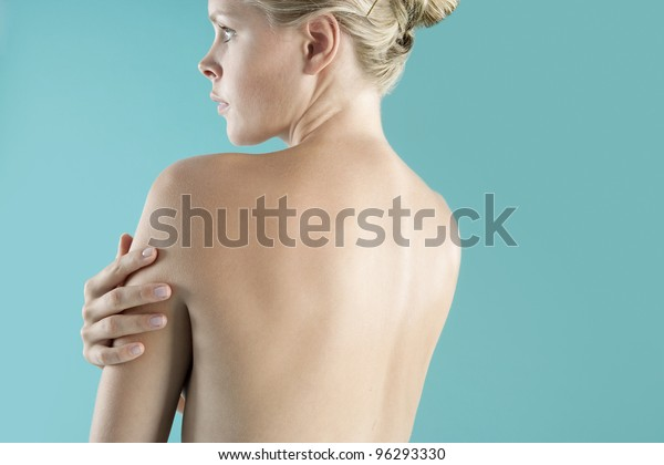 Close up view of a woman's bare back.