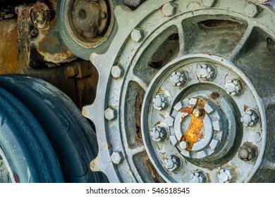 Close up view of world war tank road wheels and tracks