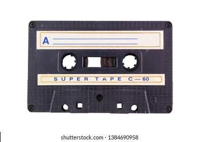 Close up of vintage audio cassette, isolated on white background