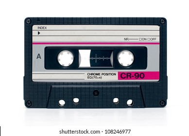 close up of vintage audio tape cassette isolated