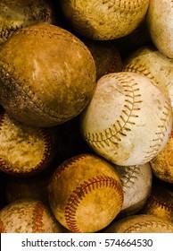 Up close of vintage baseballs