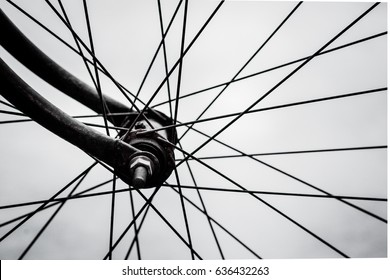 Close up of vintage bicycle wheel, isolated on white