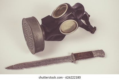 Close up of vintage german civilian gas mask. WWII.
