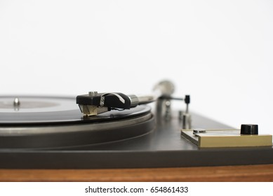 Close up of vintage gramophone player