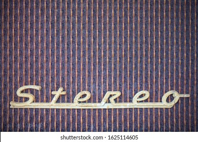 Close up of a vintage jukebox with the metal text stereo