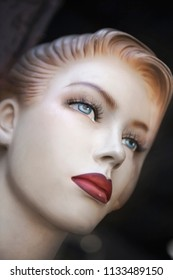 Close up of a vintage pasteboard mannequin