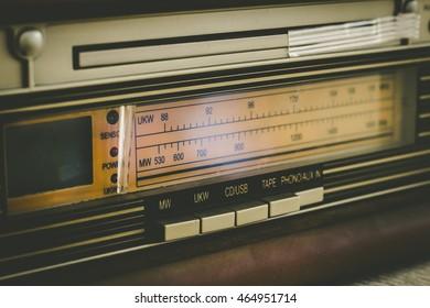 close up of vintage Radio tunning equalizer Control panel,vintage color filter