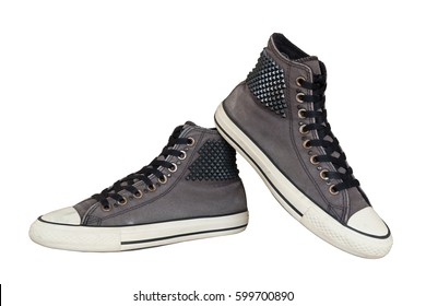 close up vintage style of sport gray sneaker shoes on white background with clipping paths