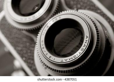 Close up of vintage TLR camera
