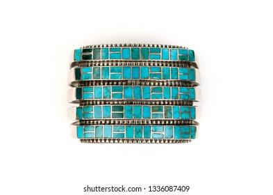 Close Up of Vintage Turquoise and Silver Cuff Bracelet.