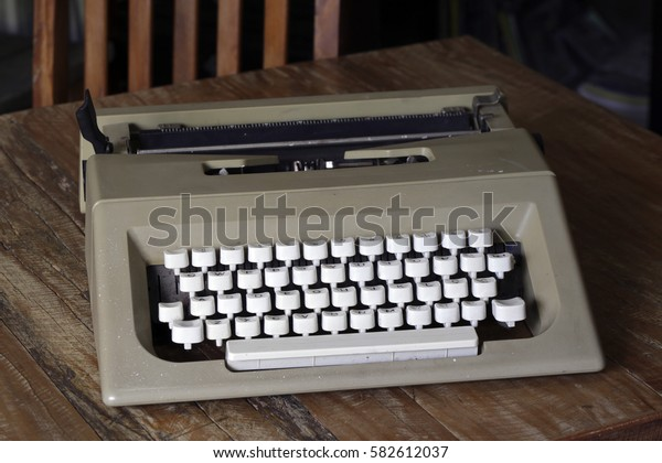 A close up of a vintage typewriter