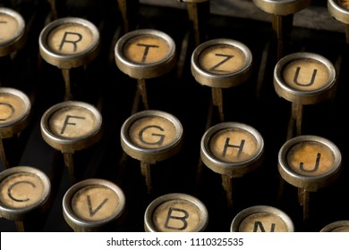 Close up of vintage typewriter keys with selective focus
