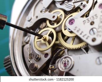 Nahaufnahme des mechanischen Kalibers der Vintage