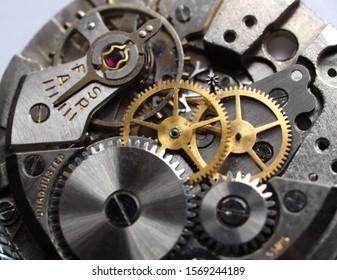 close up of vintage watch mechanism gears