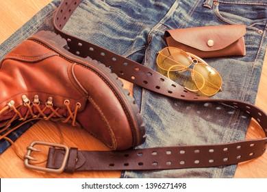 Close up vintage workwear clothing