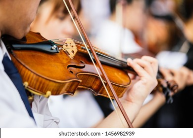 Close up violin player hands, student violinist playing violin in orchestra concert