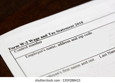 Close up of a W2 tax form in the United States