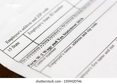 Close up of W2 Tax Form in the United States
