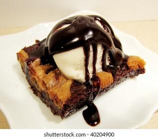 Close up of a waffle pancake with chocolate ice cream