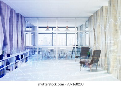Close up of a waiting area with brown armchairs, white bookshelves and a glass wall conference room in the background. Graphs. 3d rendering toned image double exposure