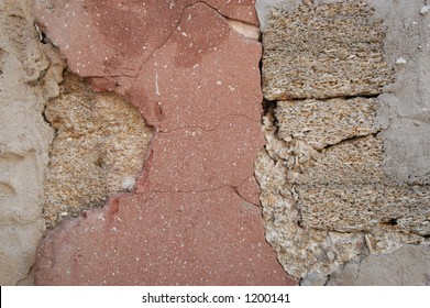 Close up of wall in St. Augustine Florida with famous coquina stone