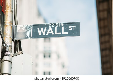 Close up of Wall Street sign in New York City.