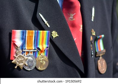 Close up of war medals on New Zealander soldier during a National War Memorial Anzac Day services in New Zealand.