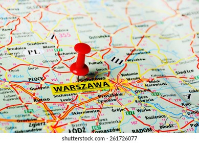 Close up of   Warsaw  , Poland  map with red pin