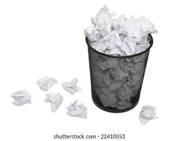 close up of waste papers and basket on white background with clipping path