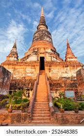 Close up of Wat Yai Chaimongkhon in Ayutthaya,Thailand