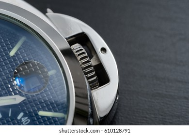 close up watch on table