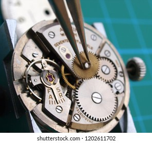close up of watchmaker repairing watch mechanical caliber, taking small gear with  tweezers