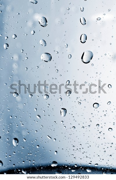 Close up to water drops on glass