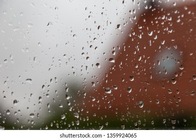 Close up of water drops on the window