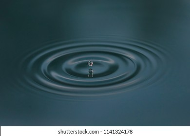 Close up of water and water drops with small waves. The photo is cold blue.