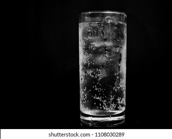 close up water in glass with black background