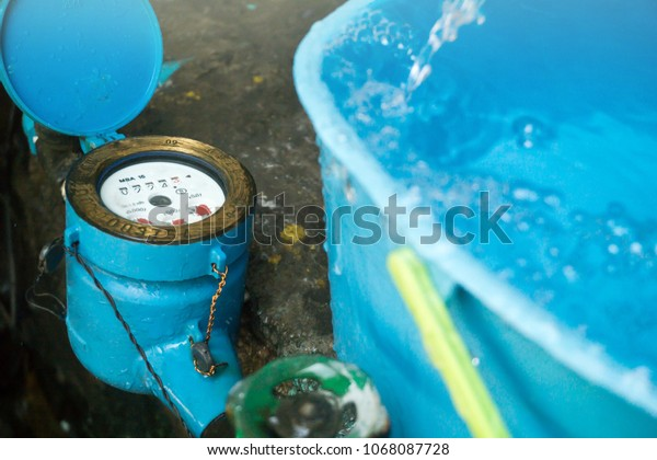 Close Water Meter Blue Color Thailand Stock Photo (Edit Now) 1068087728