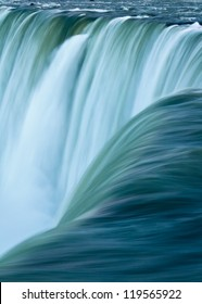 Close up of water rushing over Horseshoe Falls, Niagara Falls, Ontario, Canada