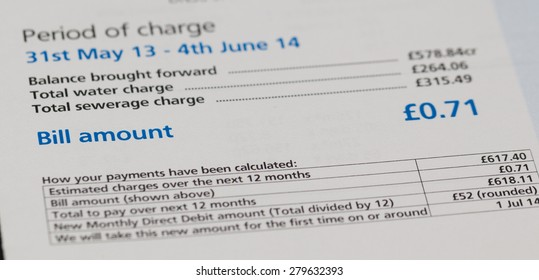 Close up of a water utility bill