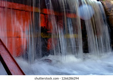 Close up of water in waterfall or dam