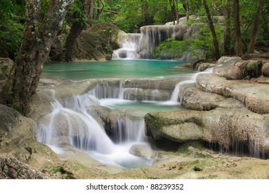 Close up waterfall in Thailand (Erawan waterfall)