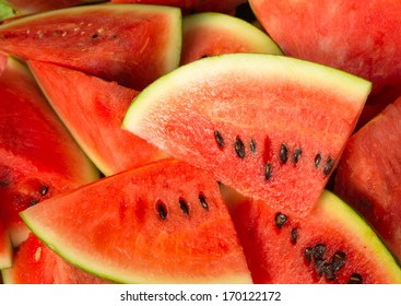 Close up of watermelons fruit sliced background