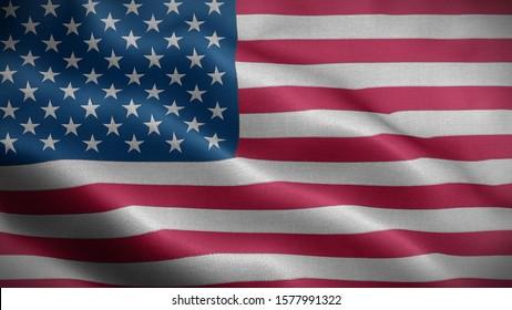 Close up waving flag of America