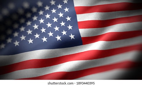 close up waving flag of America. flag symbols of America.