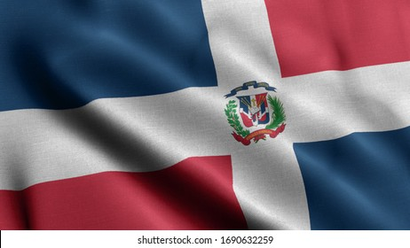 Close up waving flag of Dominican