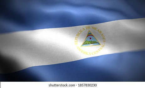 close up waving flag of Nicaragua. flag symbols of Nicaragua.
