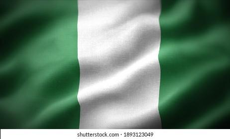 close up waving flag of Nigeria. flag symbols of Nigeria.