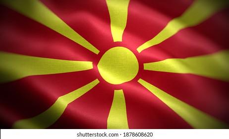Close up waving flag of North Macedonia. Flag symbols of North Macedonia.