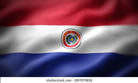 close up waving flag of Paraguay. flag symbols of Paraguay.