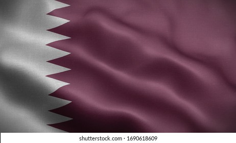 Close up waving flag of Qatar